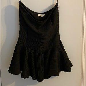 Black strapless peplum blouse